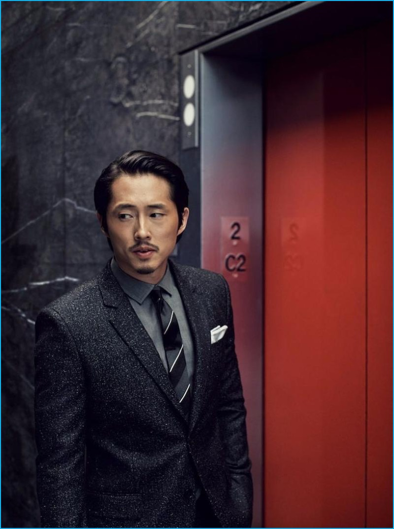 Steven yeun dons tweed suits for american gq nathaniel goldberg photographs steven yeun in a givenchy suit with a burberry shirt dolce ccuart Choice Image