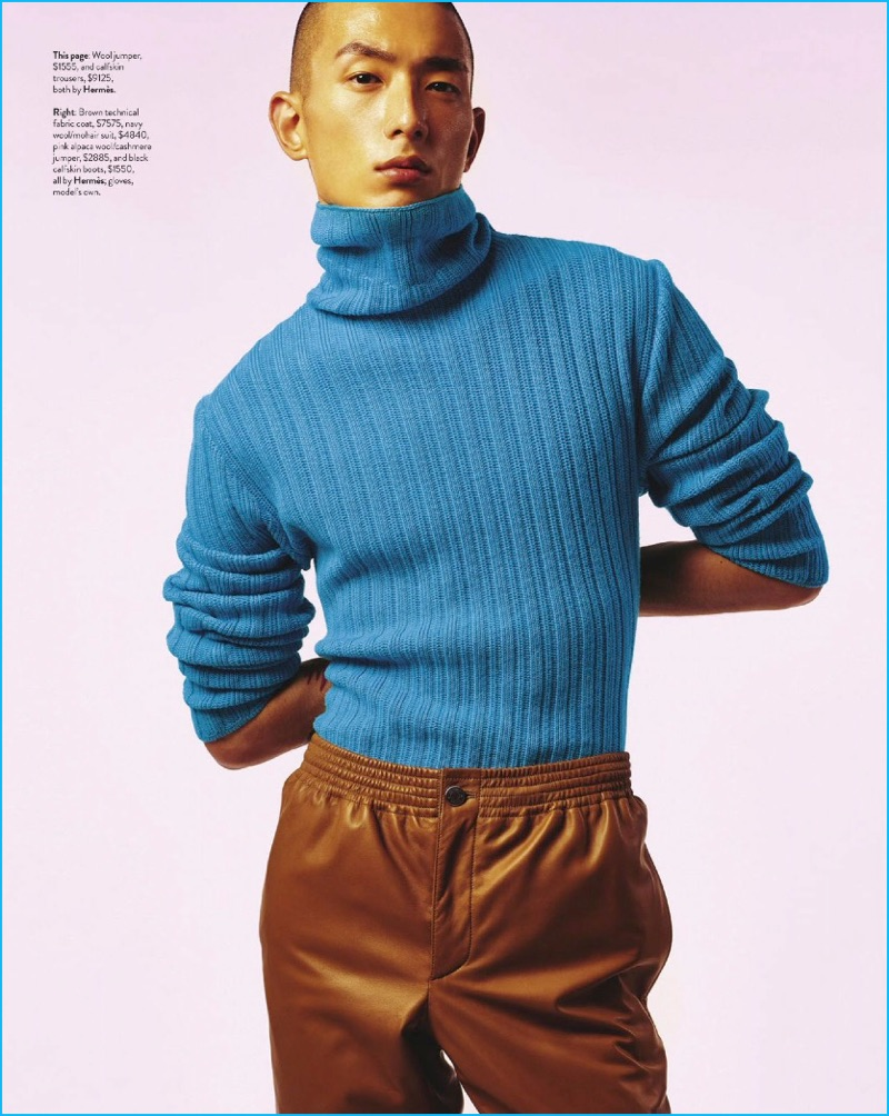 A chic vision, Sung Jin Park wears a turtleneck sweater and leather pants by Hermès.