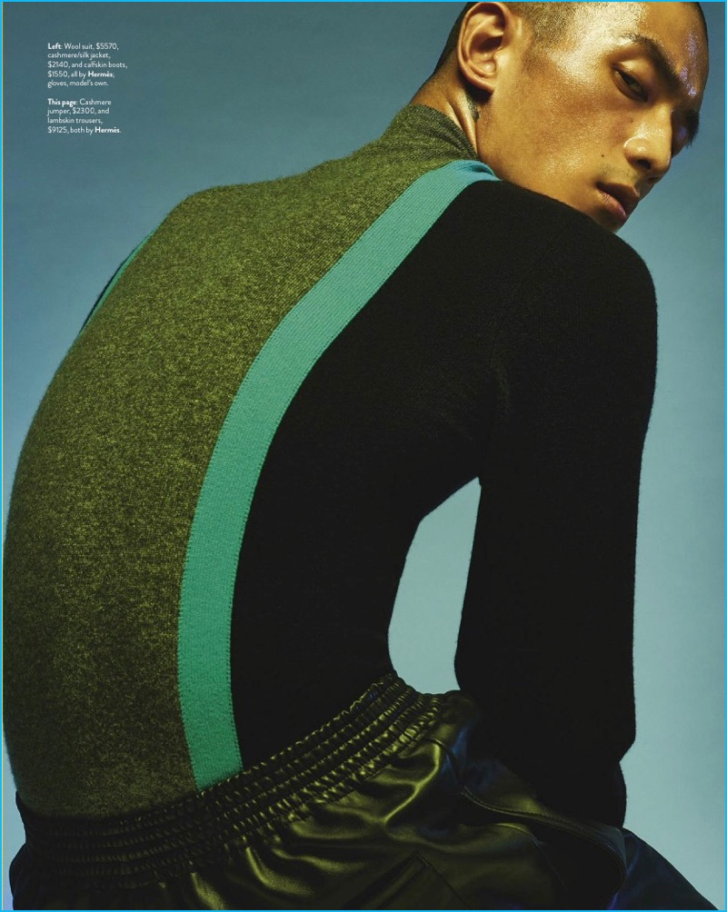 Philippe Vogelenzang photographs Sung Jin Park in a color-blocked sweater and leather pants by Hermès.