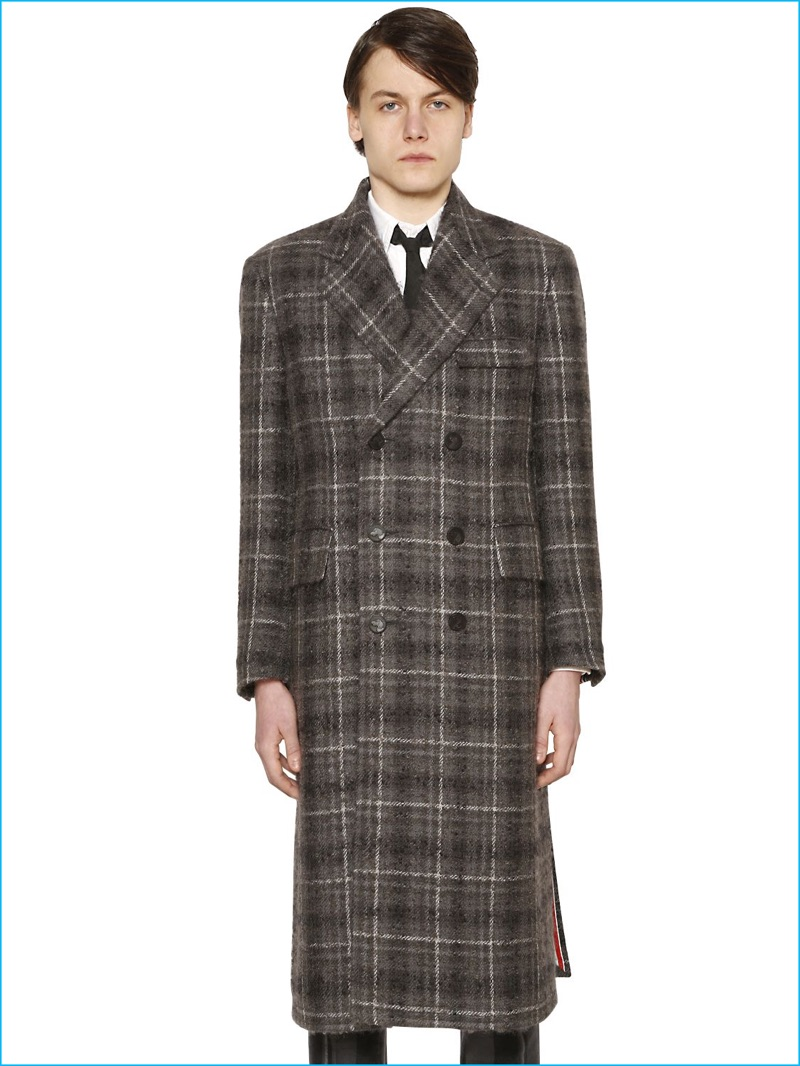 Thom Browne Men's Plaid Wool and Mohair Boucle Coat