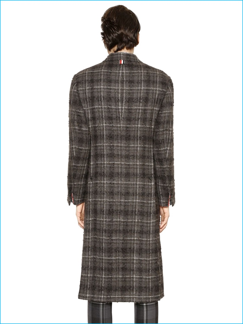 Back details of Thom Browne's plaid wool and mohair boucle coat.