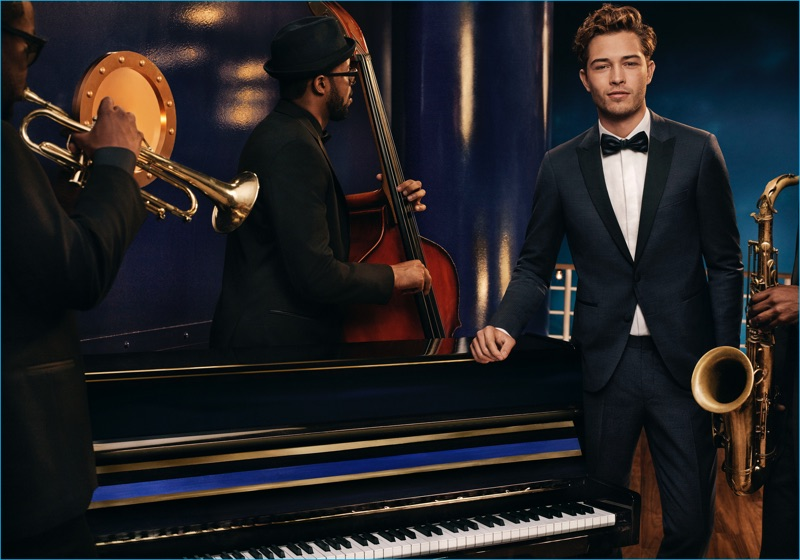 Francisco Lachowski is dashing in a tailored suit for Tommy Hilfiger's holiday 2016 campaign.