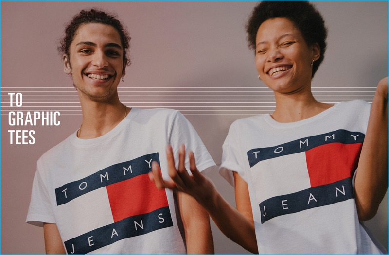 All smiles, Tre Samuels and Lineisy Montero model logo shirts from Tommy Jeans.