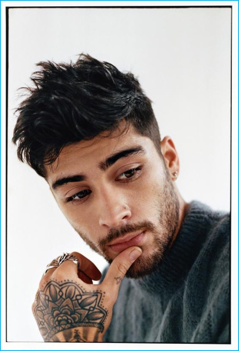 Jason Rambert styles Zayn Malik in a cashmere sweater from Versace with a Great Frog London ring.