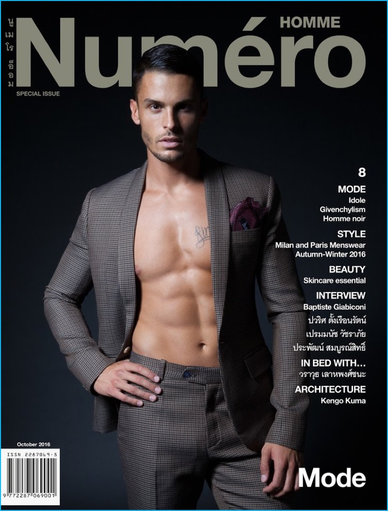 Baptiste Giabiconi covers Numéro Homme Thailand in Monlada Homme.