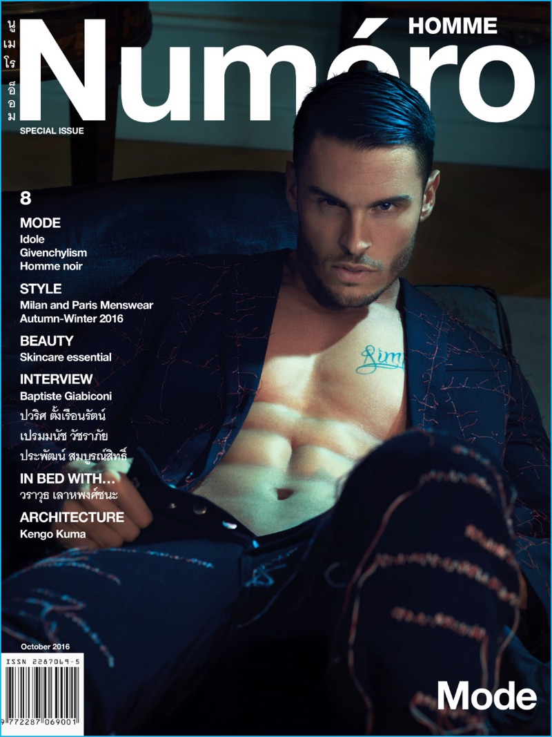 Going shirtless, Baptiste Giabiconi wears a Dior Homme suit for the cover of Numéro Homme Thailand.