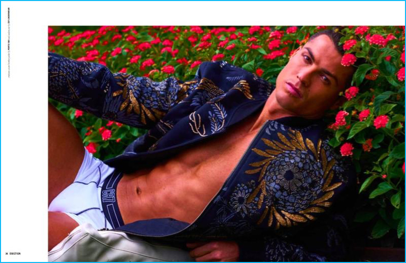 Footballer Cristiano Ronaldo wears a Ports 1961 bomber jacket with his own CR7 underwear.