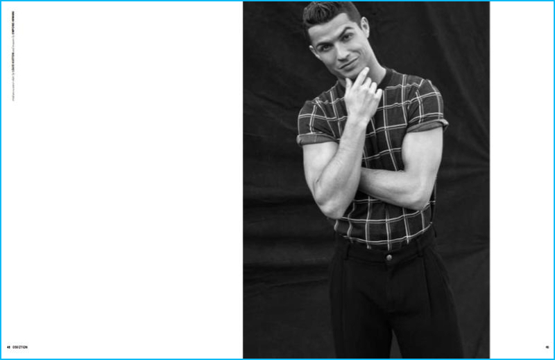 Nelly de Melo Gonçalves outfits Cristiano Ronaldo in a plaid Louis Vuitton t-shirt with Emporio Armani trousers.