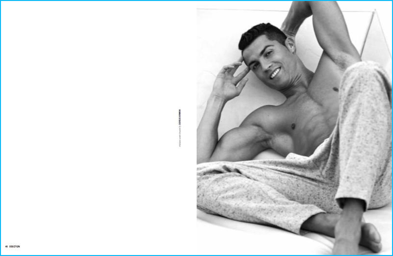 All smiles, a shirtless Crisitano Ronaldo dons trousers by Giorgio Armani.