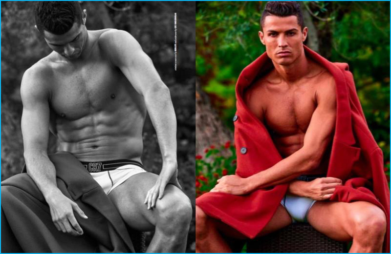 Front and center for DSection, Cristiano Ronaldo wears a Berluti coat as well as CR7 underwear.
