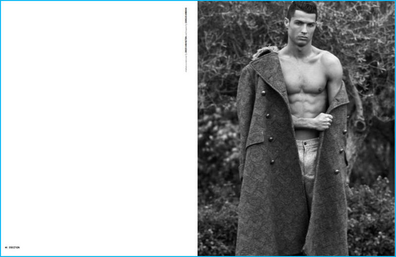Philippe Vogelenzang photographs Cristiano Ronaldo in a Dries Van Noten coat with Giorgio Armani trousers.