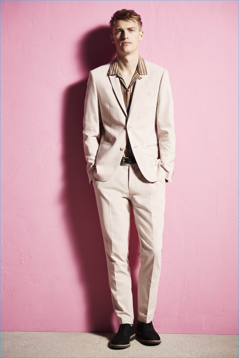 Fashion brand River Island goes nude with a neutral two-button suit for spring-summer 2017.