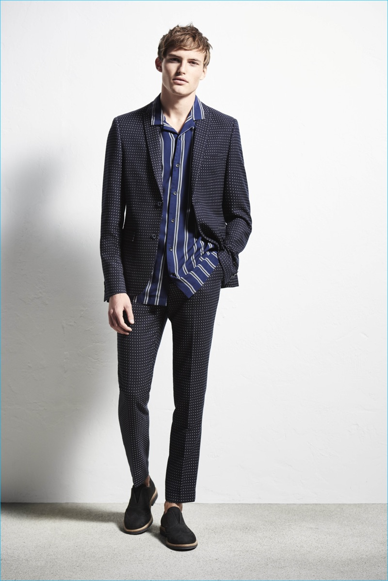 The suit gets a fun print addition with micro dots for River Island's spring-summer 2017 collection.