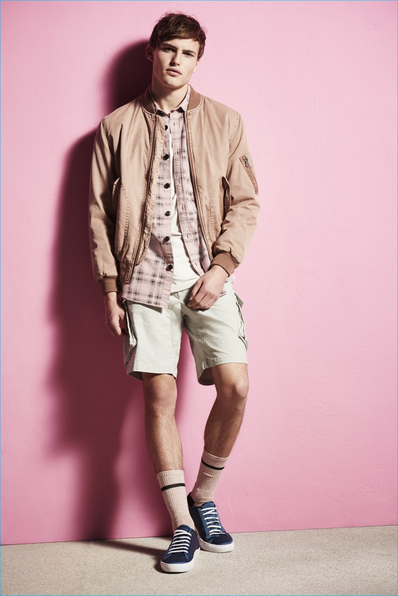 The bomber jacket continues to be a star as River Island pairs it with cargo shorts for its spring-summer 2017 collection.