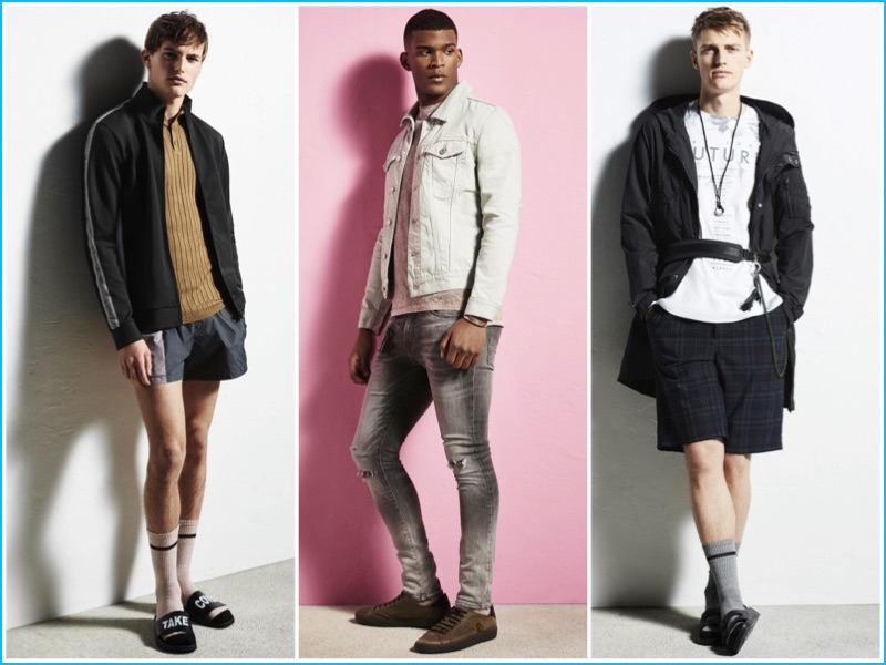 Casual styles appear front and center for River Island's spring-summer 2017 collection.