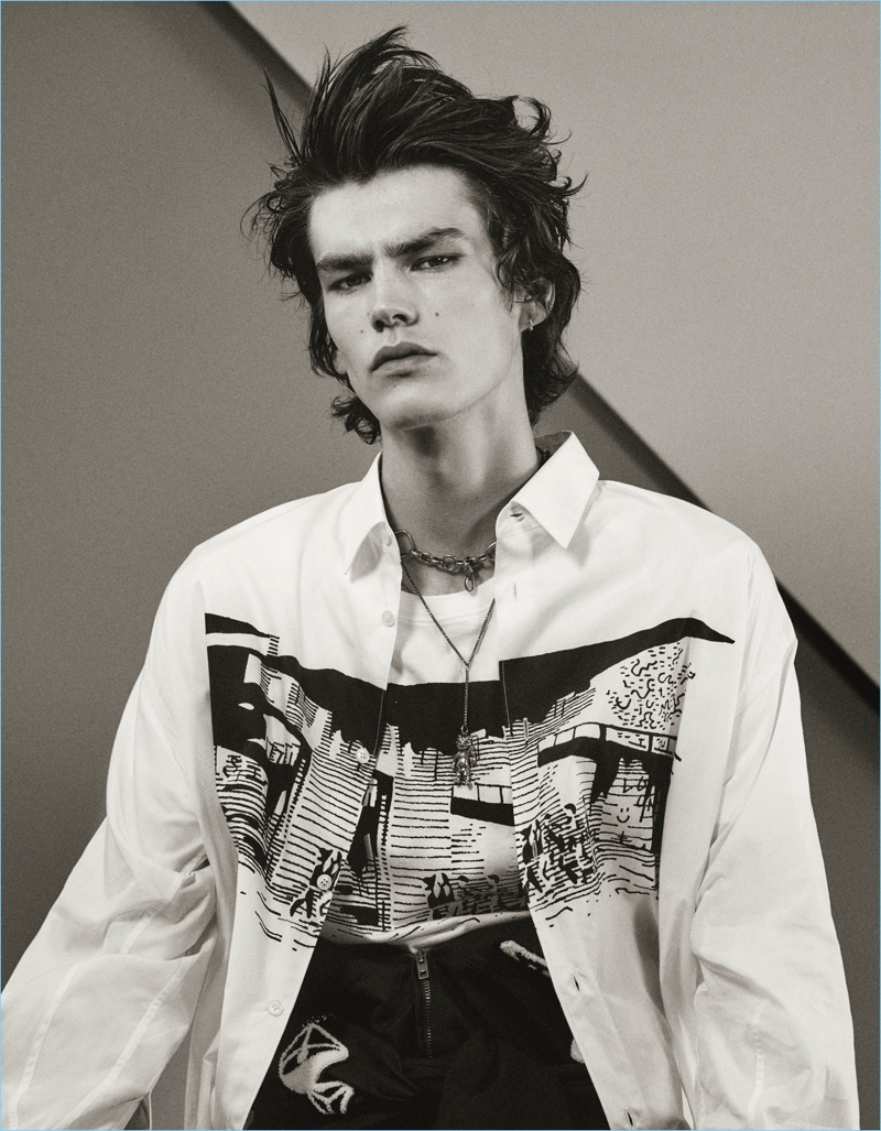 Elias de Poot wears menswear from Stella McCartney for the pages of Interview magazine.