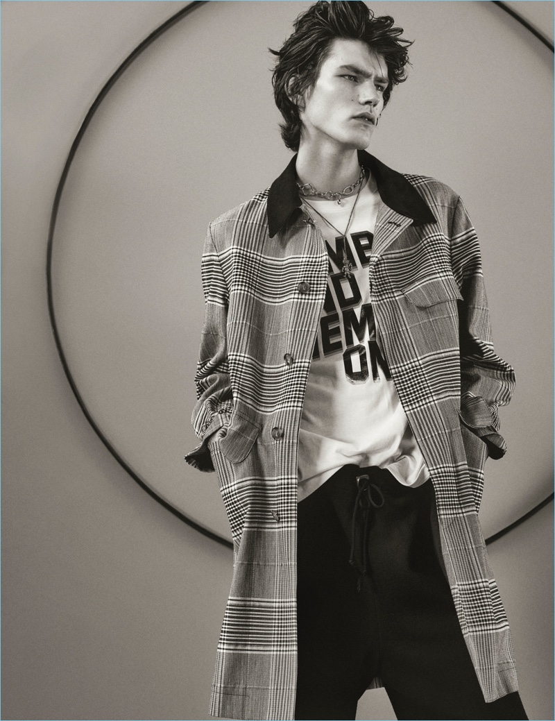 Karl Templer outfits Elias de Poot in Stella McCartney for Interview magazine.