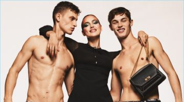 David Trulik and Kit Butler go shirtless as they join Irina Shayk for Bally's spring-summer 2017 campaign.