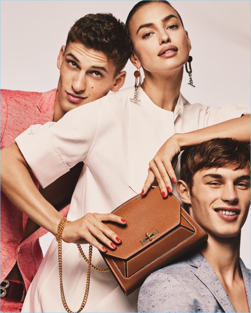 Models David Trulik, Irina Shayk, and Kit Butler star in Bally's spring-summer 2017 campaign.