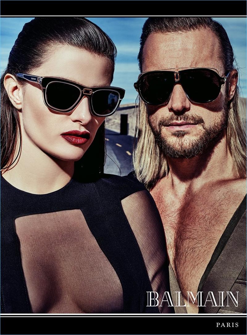 Isabeli Fontana and Gabriel Aubry star in Balmain's spring-summer 2017 eyewear campaign.