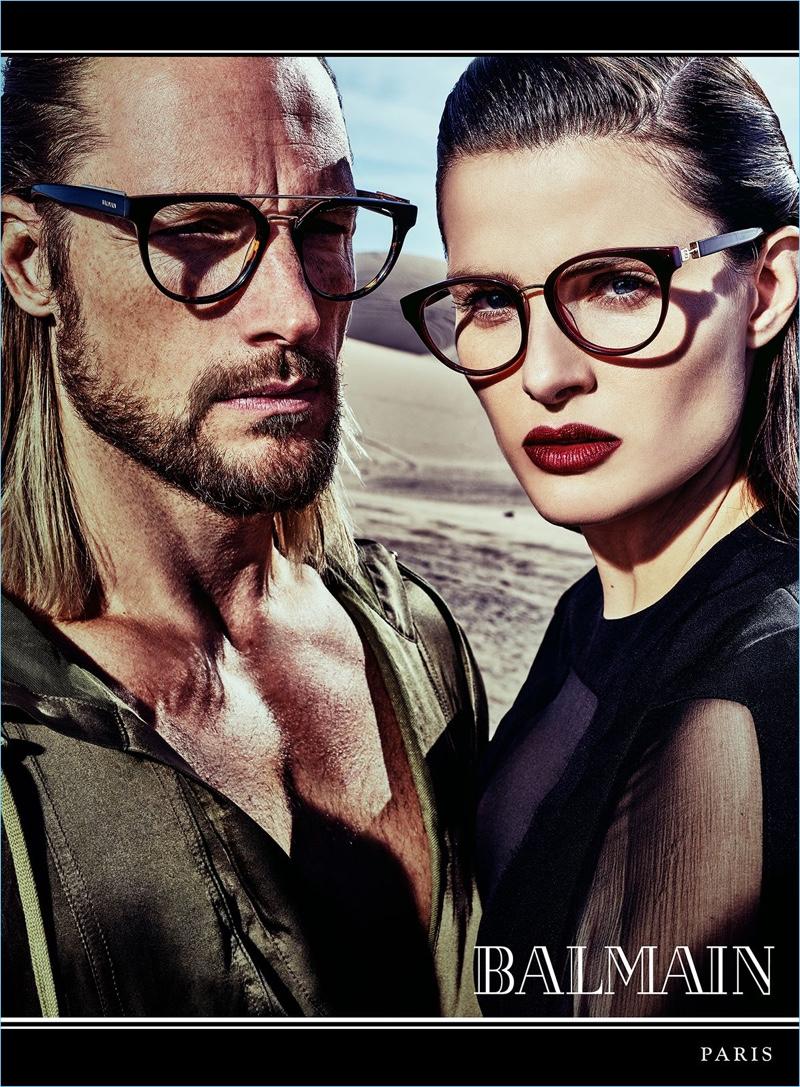 Gabriel Aubry and Isabeli Fontana front Balmain's spring-summer 2017 eyewear campaign.