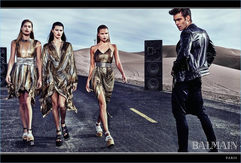 Doutzen Kroes, Isabeli Fontana, Natasha Poly, and Jon Kortajarena front Balmain's spring-summer 2017 campaign.