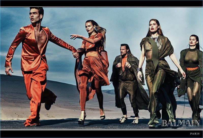 Jon Kortajarena, Natasha Poly, Gabriel Aubry, Doutzen Kroes, and Isabeli Fontana front Balmain's spring-summer 2017 campaign.