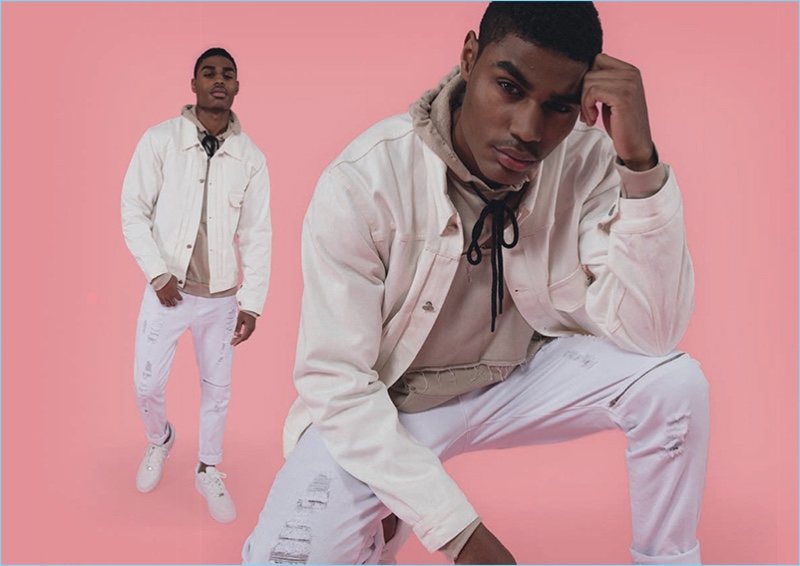 Model Karon Byers goes casual in a neutral spring-summer 2017 look by BoohooMan.