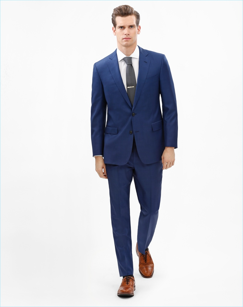 Sean Harju dons a blue two-button suit from Brooks Brothers Mainline Fleece's fall-winter 2017 collection.