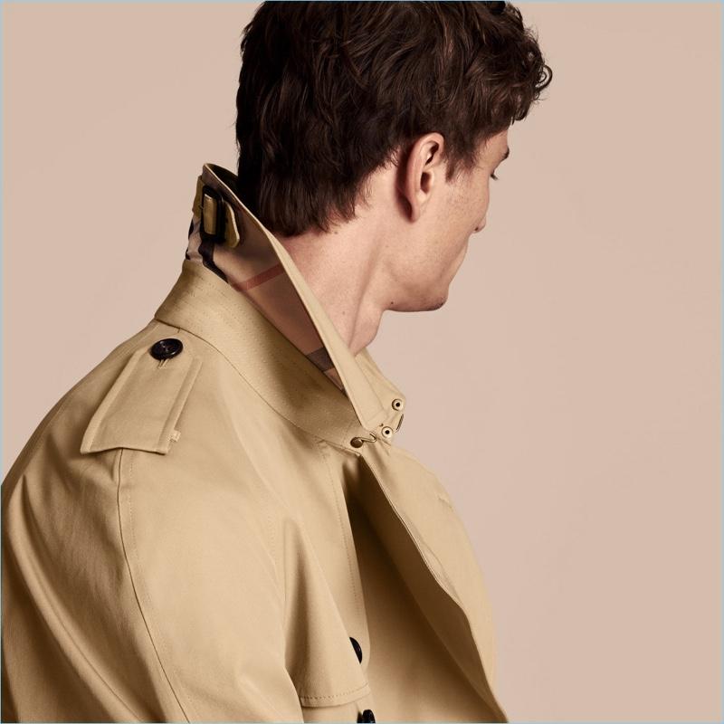 Burberry Men's Trench Coat Collar Check Print