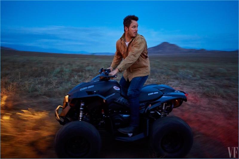 Chris Pratt goes off-roading with Vanity Fair for the magazine's February 2017 issue.