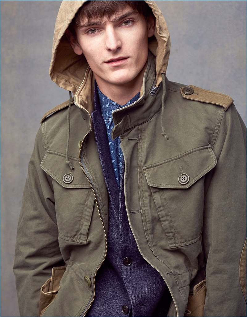 Club Monaco taps Alexander Beck for a style edit, featuring military-inspired fashions.