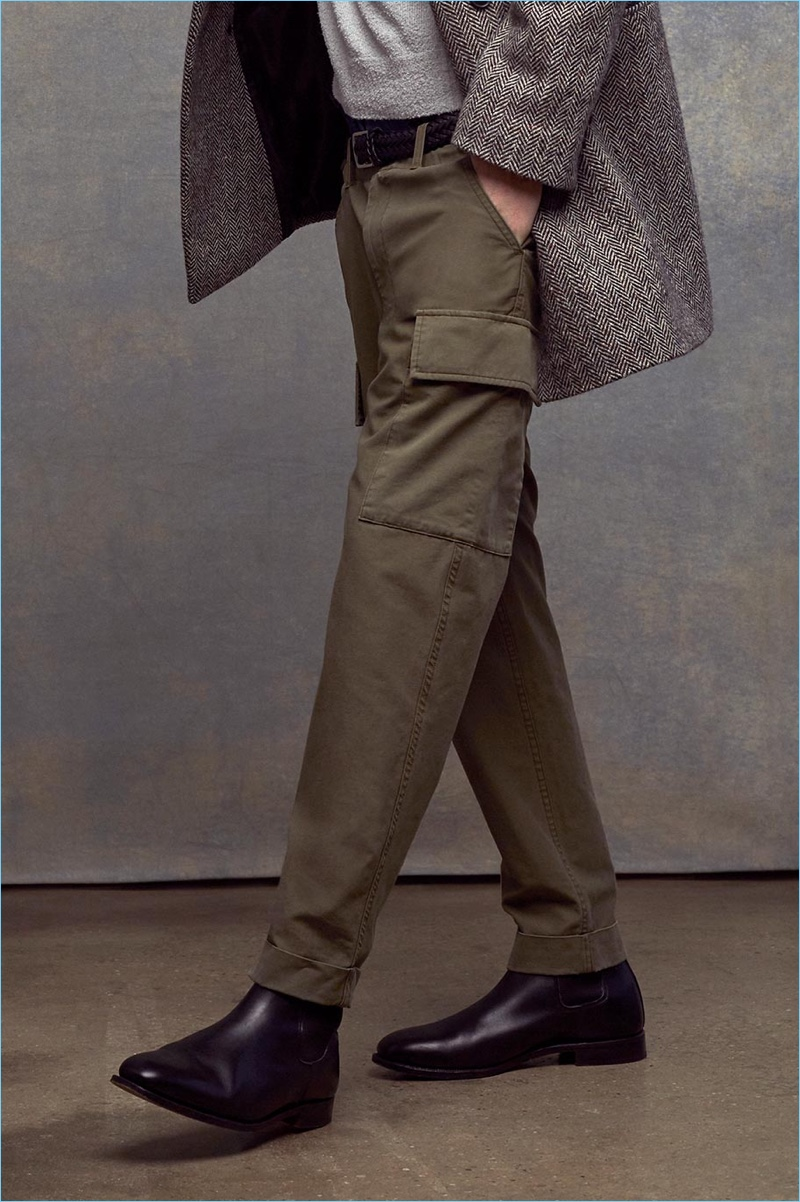 Club Monaco stands by military style for spring with its cargo pocket pants.
