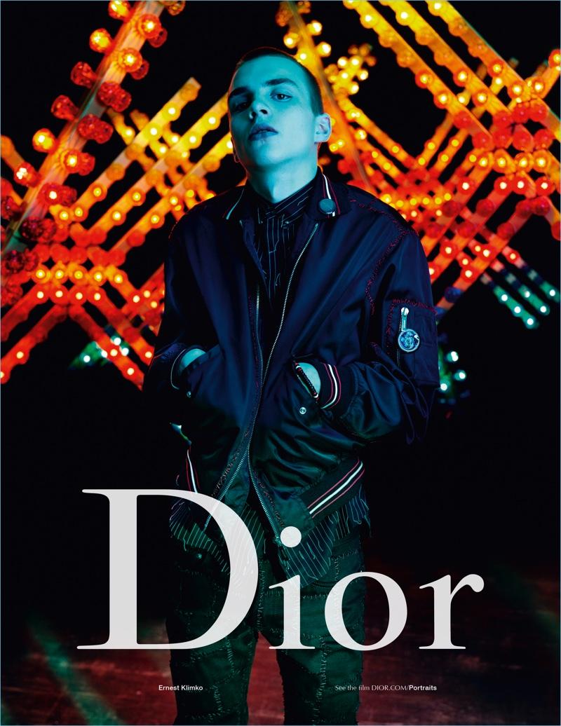 Model Ernest Klimko is front and center for Dior Homme's spring-summer 2017 campaign.