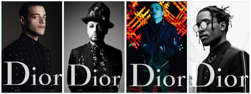 Rami Malek, Boy George, Ernest Klimko, and A$AP Rocky star in Dior Homme's spring-summer 2017 campaign.