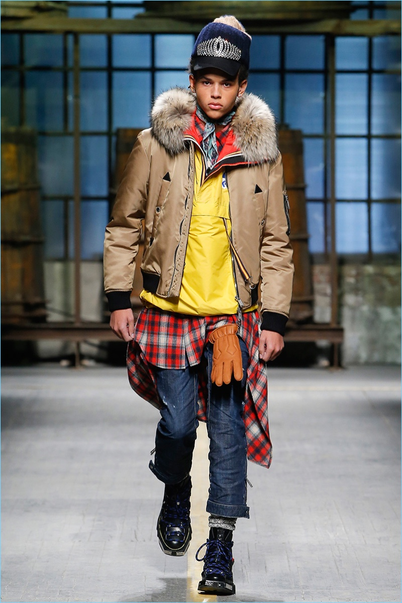 Rugged winter style lends itself to a fun wardrobe update with Dsquared2's selection of bright colors.