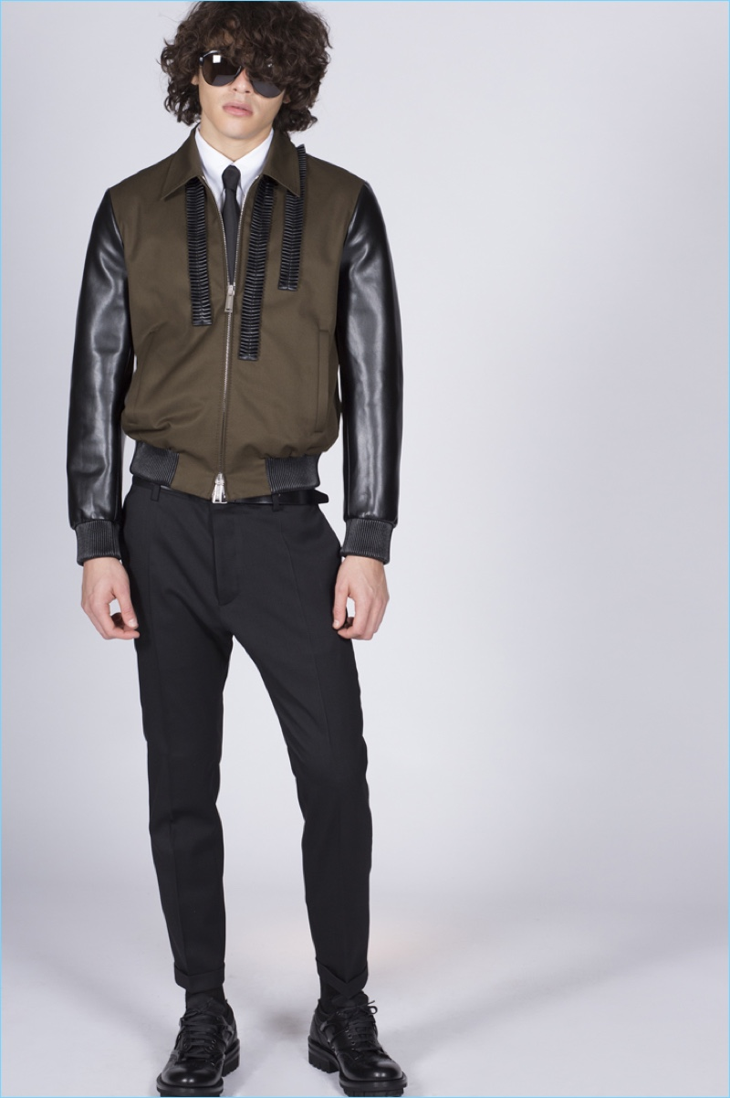 A cool vision, Francisco Perez sports a leather jacket from Dsquared's pre-spring 2017 collection.