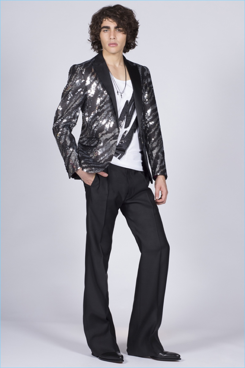 Channeling a rock 'n' roll edge, Francisco Perez wears a sequined tuxedo jacket by Dsquared2.