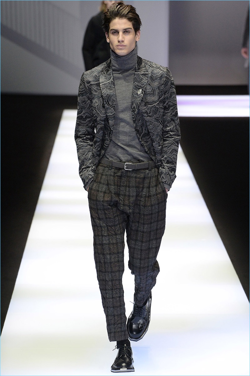 Checks and tonal patterns come together for Emporio Armani's fall-winter 2017 collection.