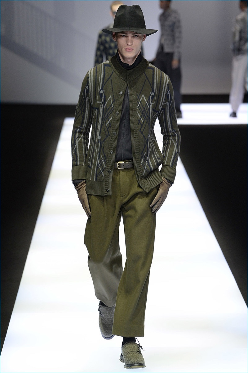 Emporio Armani embraces green for a monochromatic number from its fall-winter 2017 men's collection.