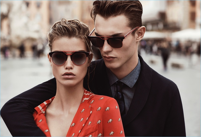 Roos Abels and Kit Butler star in Emporio Armani's spring-summer 2017 eyewear campaign.