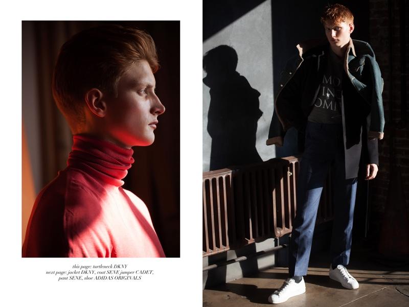 Left: Adam wears turtleneck DKNY. Right: Adam wears jacket DKNY, sweater Cadet, shoes Adidas Originals, pants and coat Sene.