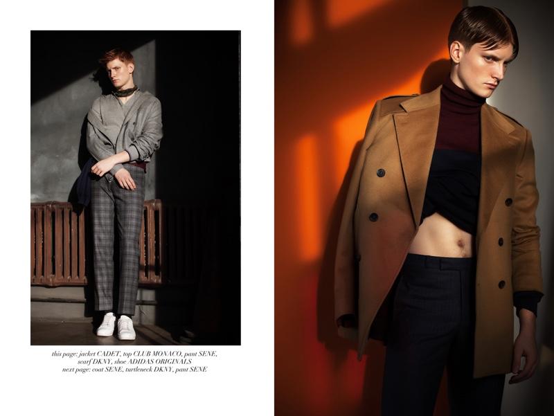 Left: Adam wears jacket Cadet, top Club Monaco, pants Sene, scarf DKNY, and shoes Adidas Originals. Right: Adam wears turtleneck DKNY, coat and pants Sene.