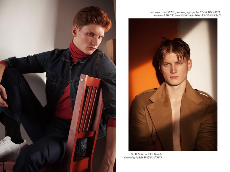 Left: Adam wears jacket Club Monaco, turtleneck DKNY, pants Sene, and shoes Adidas Originals. Right: Adam wears coat Sene.