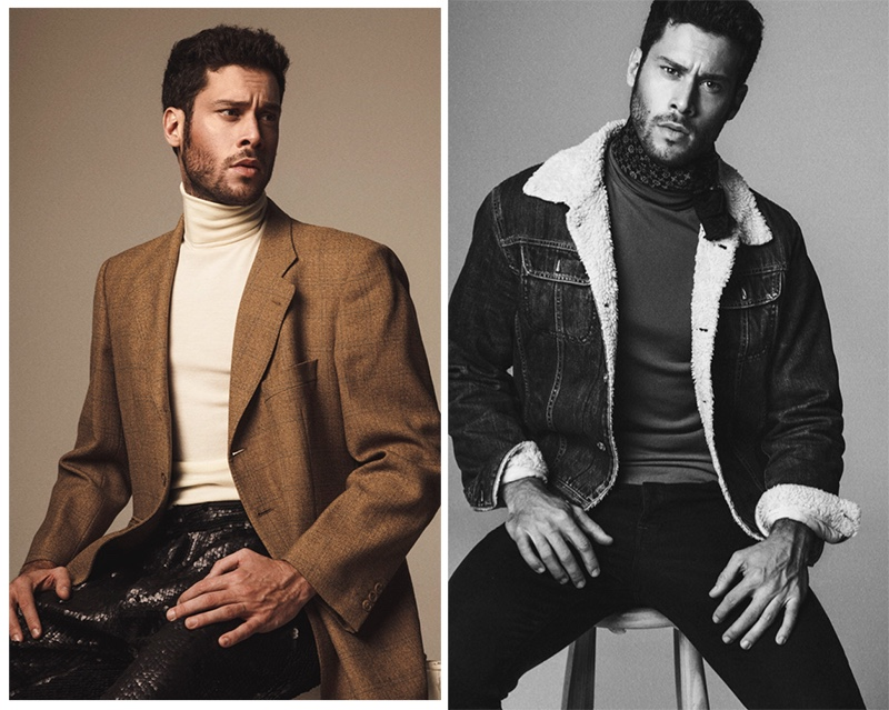 Left: Jose wears blazer Massimo Dutti, turtleneck Hugo Boss, and pants Ana Locking. Right: Jose wears denim jacket Diesel, scarf Carolina Herrera, top Hugo Boss, and jeans G-Star Raw.