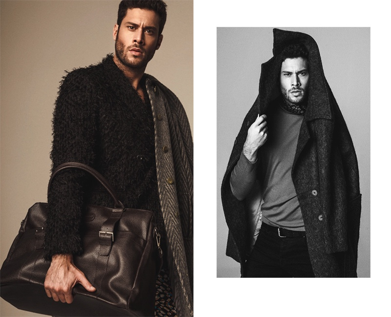 Left: Jose wears blazer Ana Locking, coat Herno, bag Carolina Herrera, and pants Victor Caballero. Right: Jose wears coat Habey, top Hugo Boss, scarf Carolina Herrera, belt Antony Morato, and jeans G-Star Raw.