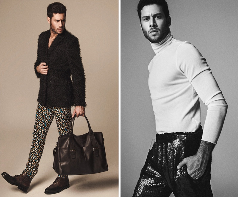 Left: Jose wears blazer Ana Locking, pants Victor Caballero, boots Zara, and bag Carolina Herrera. Right: Jose wears turtleneck Hugo Boss and pants Ana Locking.