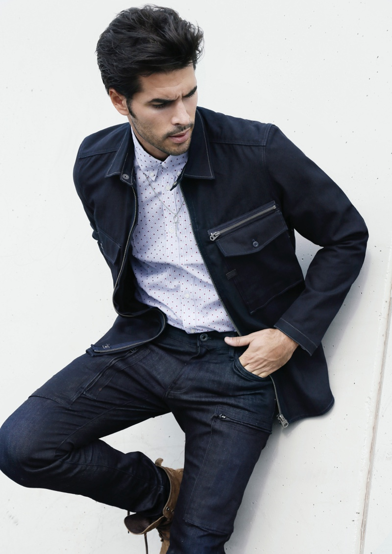 Raul wears shirt Macson, jacket and jeans G-Star Raw.