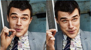 The center of attention, Finn Wittrock wears a PS Paul Smith suit with a shirt and tie by Paul Smith.