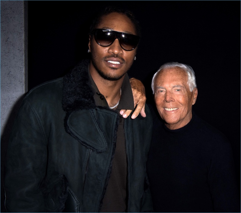 Future poses for pictures with Giorgio Armani at the designer's fall-winter 2017 men's show.